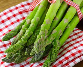 Mary Washington asparagus bundle wrapped with a red gingham ribbon, on top of a red gingham napkin.